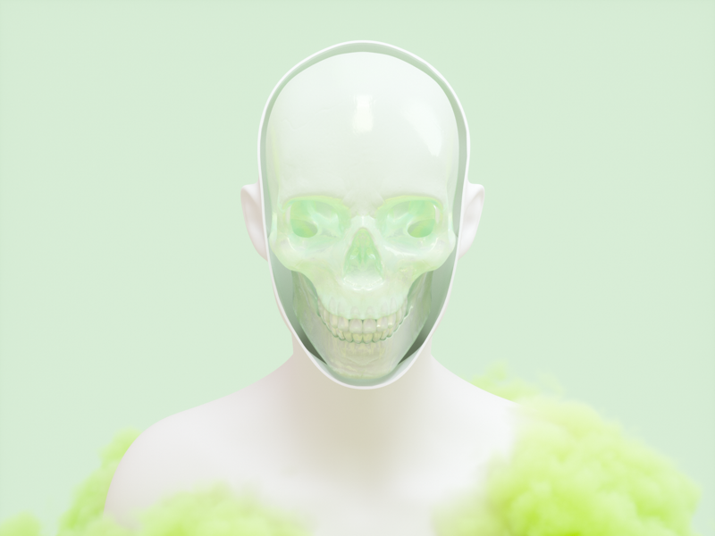 Shell Scream green dribbble art cgi hello scream mindless skull