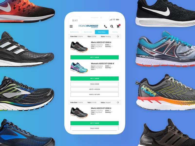 My Account Section - Road Runner Sports repeat orders conversion design online shopping user experience user interface ux design mobile interface ui  ux design ui design customers account section ecommerce running shoes