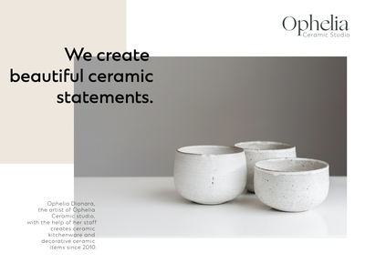 Ophelia Ceramics Studio Brand simple logo simplistic simplicity branding design icon ux typography ui modern branding bold logo design modern branding brand identity brand