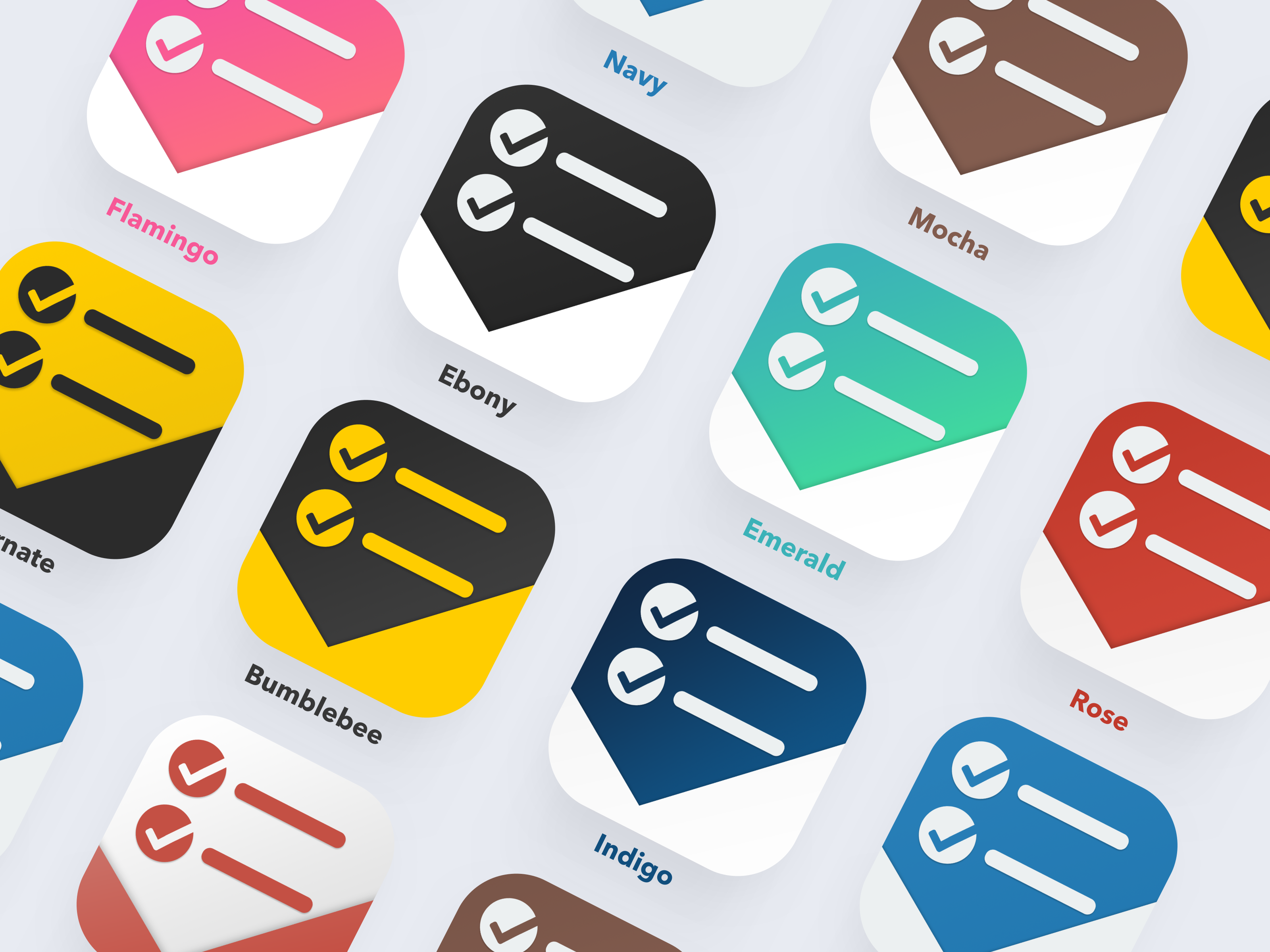 Toodoo app icon colors with names
