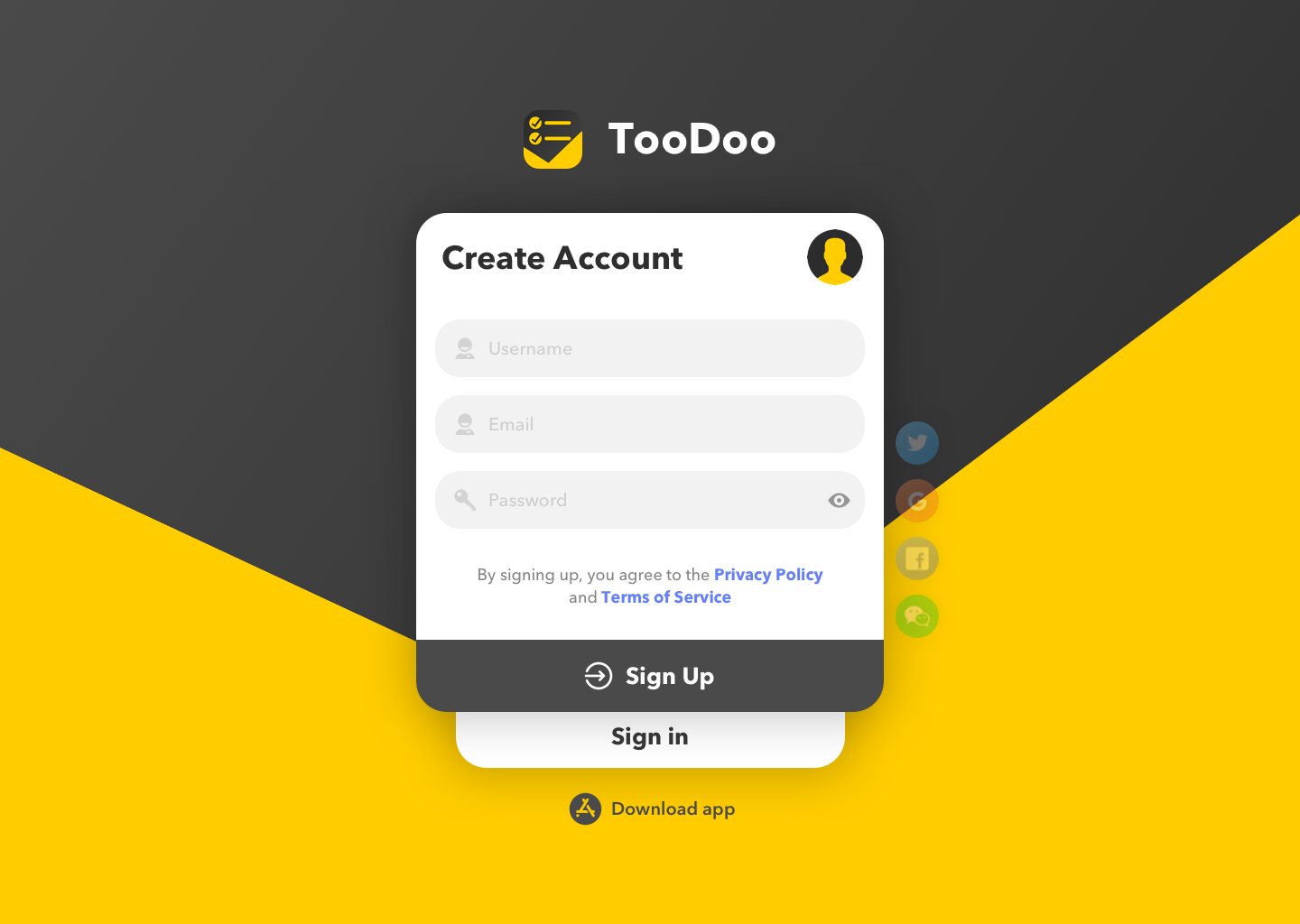 Auth page   sign up