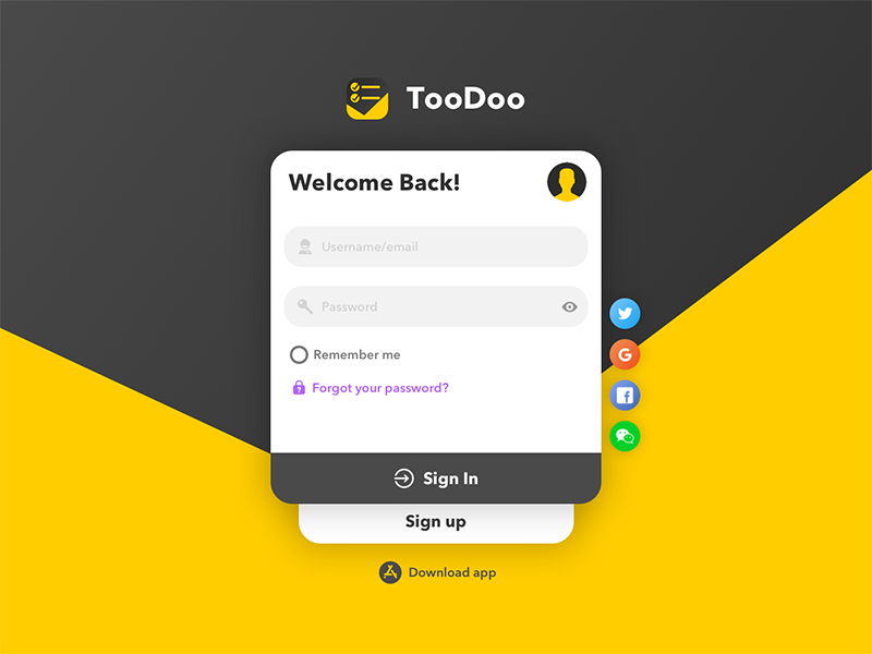 TooDoo Web Login & Sign up Design ux form login ui web