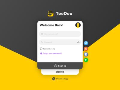 TooDoo Web Login & Sign up Design ux form login ui web
