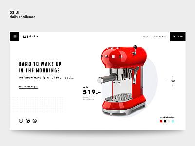 #02 UI daily challenge - SMEG e-commerce concept concept smeg shop ui daily challenge minimal webdesign firstscreen ecommerce slider media