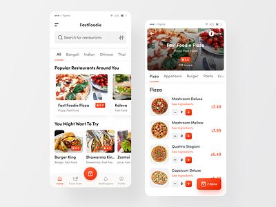 FastFoodie - Food Ordering App ui delivery app design best dribbble shot uxui ui8 pizza mobile app design food delivery app food delivery delivery app creative clean