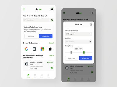 Jobee - Job Finding App community social app job app ios app job seekers employee office job application job best dribbble shot mobile app design ux ui