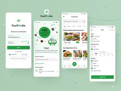 FastFoodie - Food Delivery App mobile app design app online food delivery service delivery app online food delivery online food order restaurant app food app restaurant delivery best dribbble shot mobile app design ux ui