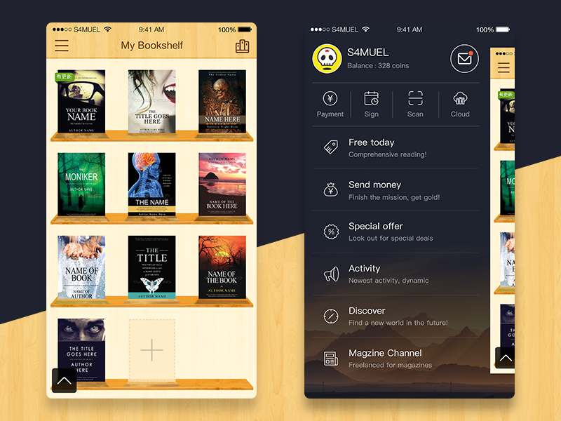 Reader App Drawer & Shelf UI ui app reader