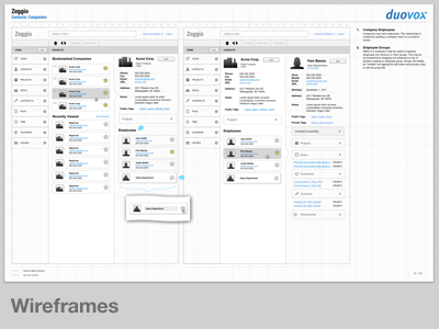 Zeggio Wireframes wireframes process design example