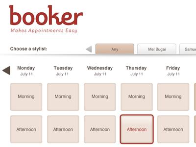 Booker App booker application interface ui