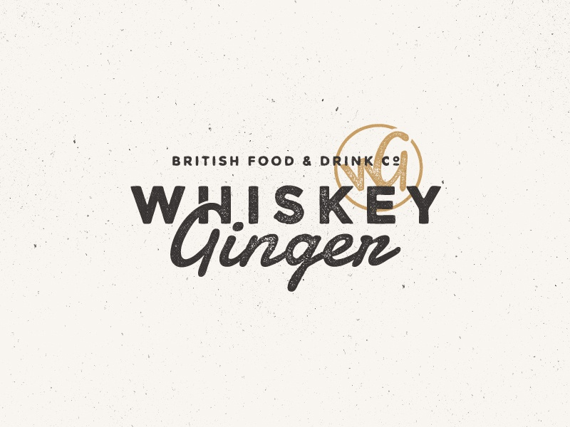 Whiskey Ginger logo brand type texture old vintage stamp gold aged