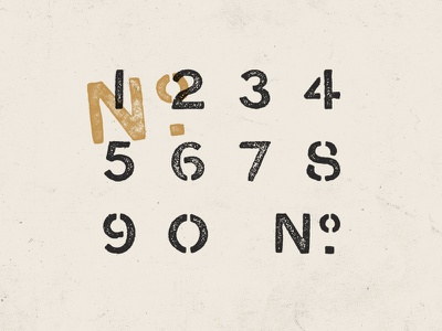 Stencil No. type typography numbers stencil texture found