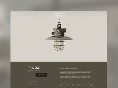 Reclaimed Lighting UI web ui product single clean simple reclaimed light lighting