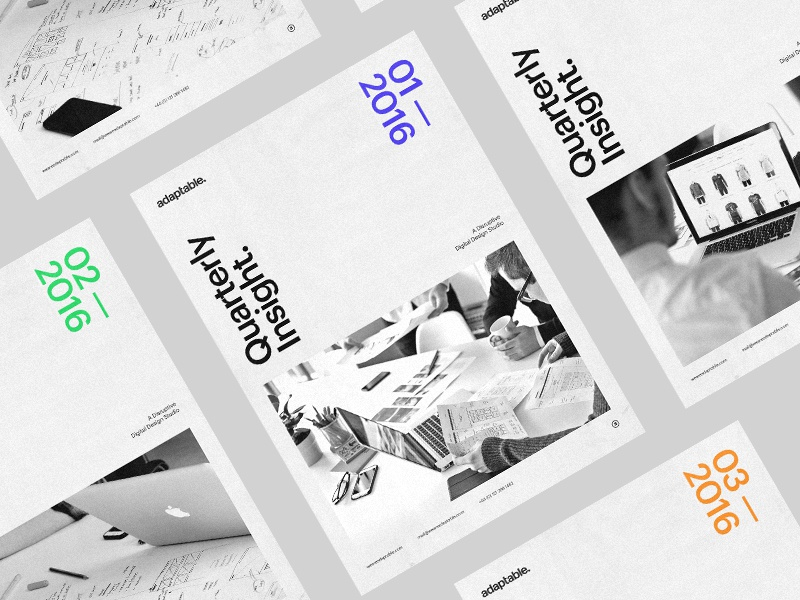 Quarterly Insight Mailer. adaptable typography minimal simple clean whitespace grid duotone newspaper print mailer