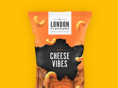 London Flavours Cheese Snacks packaging crisps chips typography simple london logotype logo branding brand bag packet