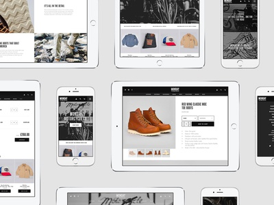 Monday Motorcycle Co. Shopify Site commerce shop store ui ux home hero grid whitespace simple web layout
