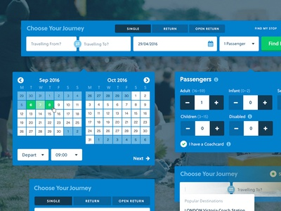National Express UI Elements ui ux fields booking grid simple elements national express coach travel adaptable
