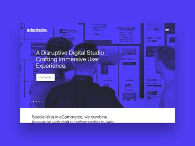 adaptable studio site 2016 header clean blue duotone hero home folio portfolio agency studio design