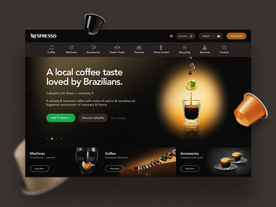 Nespresso UI Concept rounded simple clean product ecommerce concept hero home ui coffee nespresso