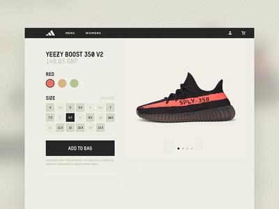 YEEZY Product Page checkout sizing cart customer shopping ecommerce ui ux adidas 350 boost yeezy