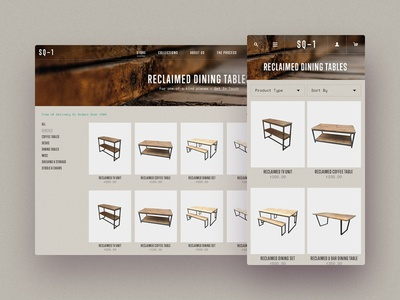 Reclaimed Furniture Product Listing UI shopify commence home hero ui furniture wood reclaimed texture