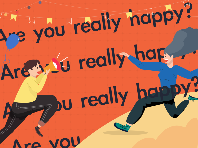 Are you really happy? happy horn character boy girl illustration