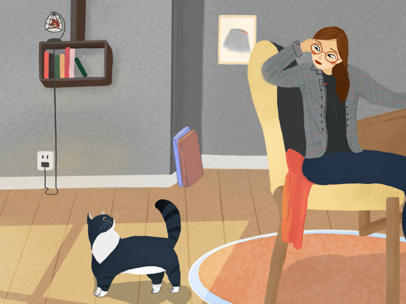life with a cat cat girl illustration