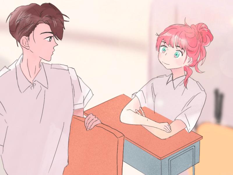 classmate boy girl drawing illustration