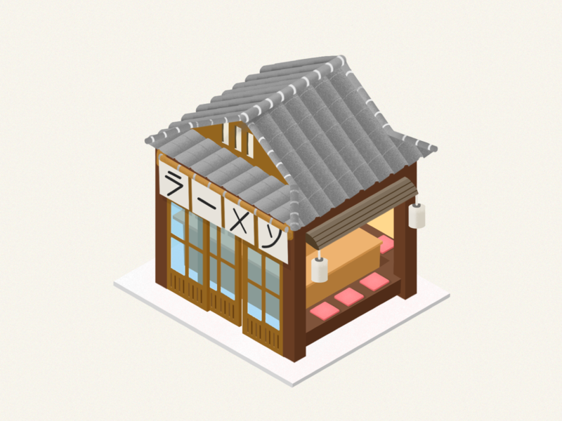 2.5d noodle restaurant illustration