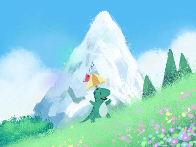 Little dinosaur and his friend illustration
