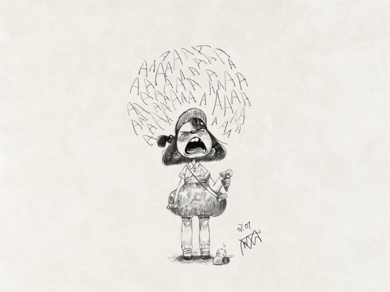 Girl2 crying girl drawing