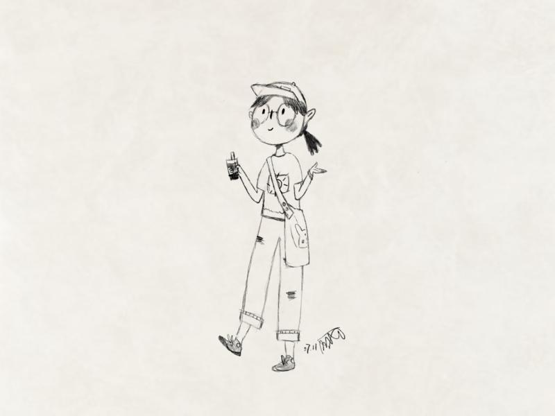 A Girl Drinking Milk Tea milk tea girl drawing