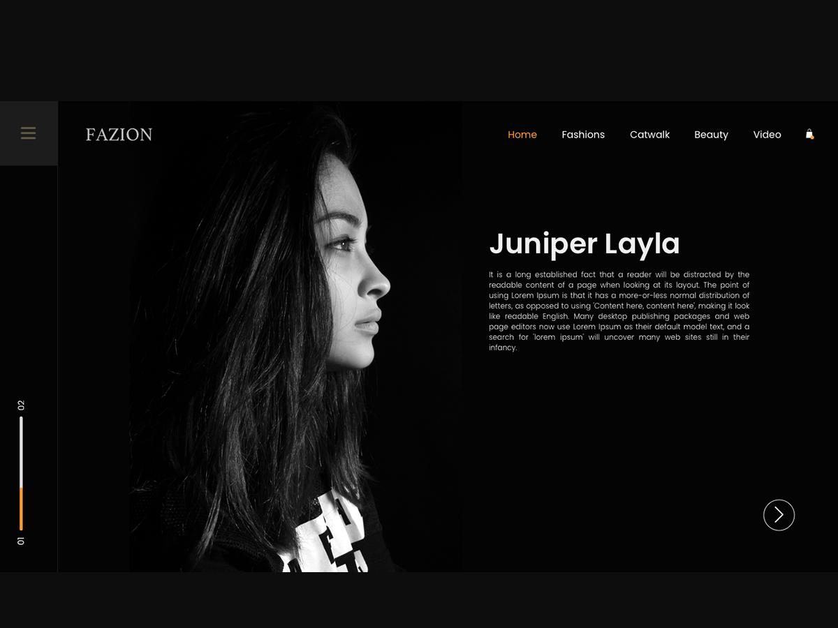 FAZION - Landing Page video sketch scroll animation web website typography promo photo interaction menubar scroll home page design landing page design product fashion brand dark mode design ui  ux