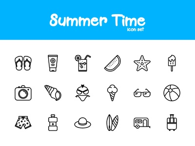 Summer Time iconutopia vector icon set icons summer icon design icon