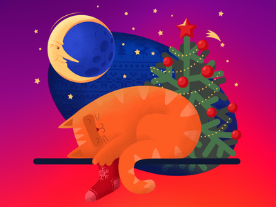 The Christmas Cat ipad affinity designer moon cat new year christmas