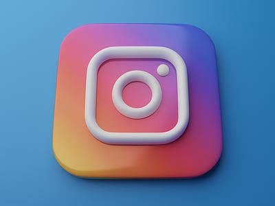 Instagram   Big Sur App Icon 3d skeumorphism neumorphism logo graphic instagram blender big sur app icon 3d art