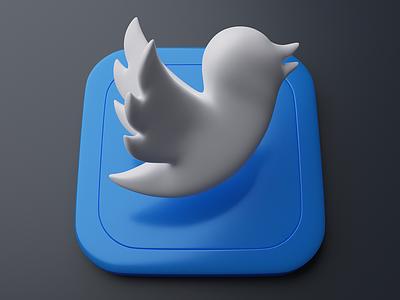 Twitter   Big Sur App Icon 3d appicon icons app big sur twitter blender graphic invite logo neumorphism skeumorphism