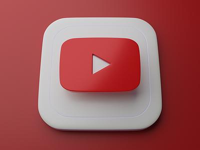 Youtube   Big Sur App Icon skeumorphism apple ios big sur icons graphic blender 3d app icon logo youtube