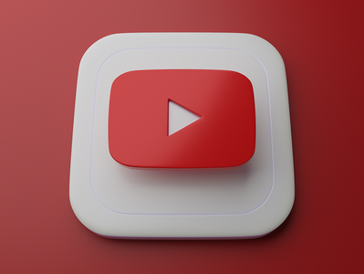 Youtube | Big Sur App Icon skeumorphism apple ios big sur icons graphic blender 3d app icon logo youtube
