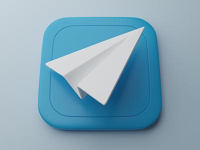 Telegram   Big Sur App Icon 3d icon 3d minimal icons design clean c4d bigsur blender
