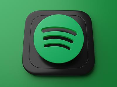 Spotify   Big Sur App Icon skeumorphism graphic branding ui 3d art appicon spotify blender 3d bigsur