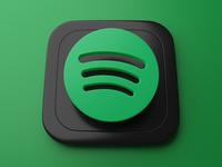 Spotify | Big Sur App Icon skeumorphism graphic branding ui 3d art appicon spotify blender 3d bigsur