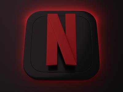 Netflix   Big Sur App Icon app icon big sur graphic branding logo ui blender 3d