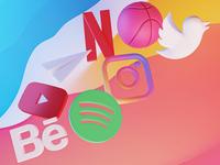 Icons became real icon big sur graphic design logo branding blender 3d ui