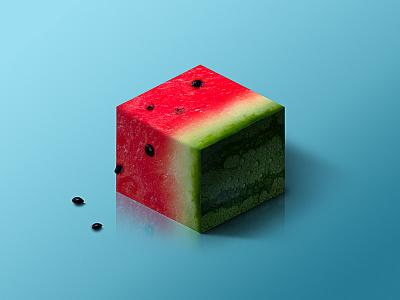 Watermelon @ World of Isometric Fruits photoshop manipulation isometric illustration health graphic fruit fitness design