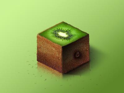 Kiwi @ World of Isometric Fruits kiwi photoshop manipulation isometric illustration health graphic fruit fitness design