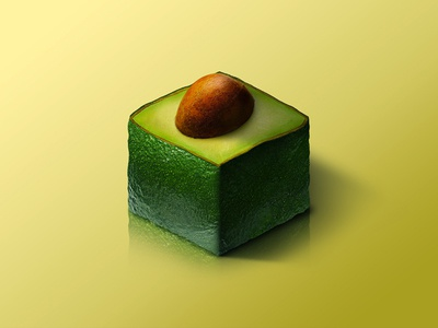 Avocado @ World of Isometric Fruits avocado photoshop manipulation kiwi isometric illustration health graphic fruit fitness design