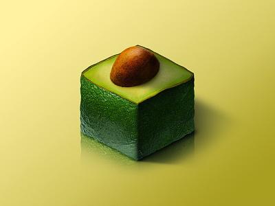 Avocado @ World of Isometric Fruits avocado photoshop manipulation kiwi isometric illustration health graphic fruit fitness design