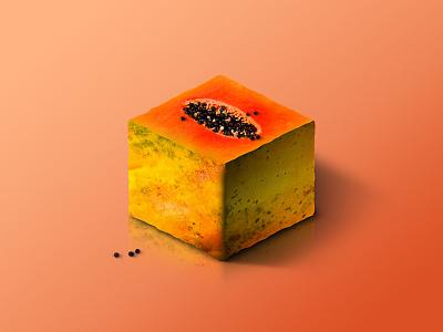 Papaya @ World of Isometric Fruits photoshop manipulation kiwi isometric illustration health graphic fruit fitness design art