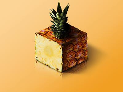 Pineapple @ World of Isometric Fruits photoshop manipulation kiwi isometric illustration health graphic fruit fitness design art